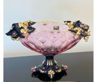 Cevik Group Розовая с черным ваза для фруктов 40см