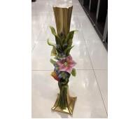 Cevik Group Золотая с Цветами ваза для цветов 76 см напольная
