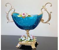 Розаперла Голубая ваза для фруктов 28см