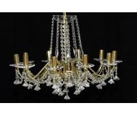 Биджев люстра 10 свечей золотые плафоны