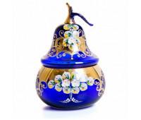 Синяя Лепка ваза для конфет груша 24 см