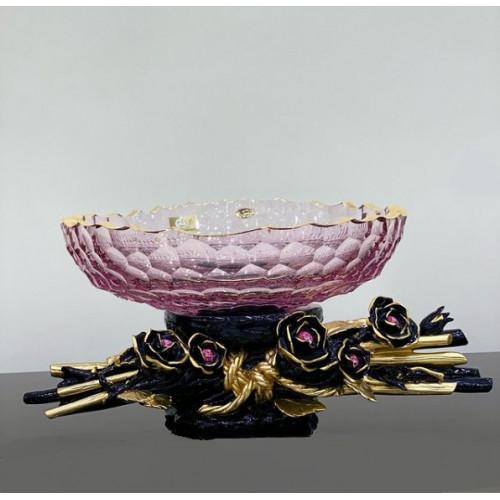 Cevik Group Розовая с черным ваза для фруктов 35см