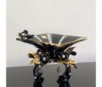 Cevik Group Черная с Золотом ваза для фруктов 40см
