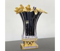 Cevik Group Черная с Золотом ваза для цветов 35 см