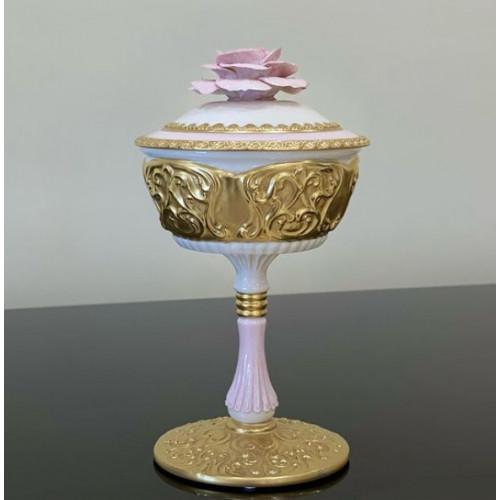 Cattin (Каттин) Розовый ваза на ножке 18см с крышкой (диаметр 14 см)