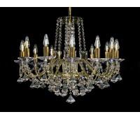 Биджев люстра 12 свечей золотые плафоны