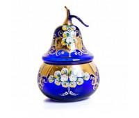 Синяя Лепка ваза для конфет груша