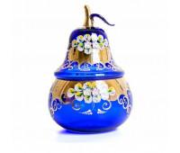 Синяя Лепка ваза для конфет груша 15см