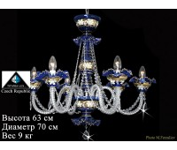 Титания Люкс люстра 6 свечей Синяя Лепка