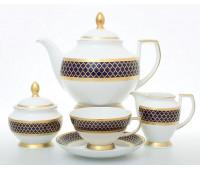 """Falken Porselan """"Валенсия Кобальт Голд"""" чайный сервиз на 6 персон 15 предметов"""