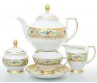 "Falken Porselan ""Виена Целадон Голд"" сервиз чайный на 6 персон 15 предметов"