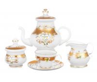 Белая Лепка сервиз чайный на 6 персон из 15ти предметов