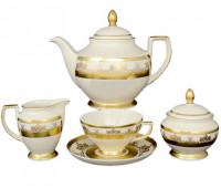 """Falken Porselan """"Крем Сапфир Голд"""" сервиз чайный на 6 персон 17 предметов"""