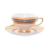"Falken Porsellan ""Диадем Блю Голд"" набор чашек с блюдцами для чая 250мл из 6ти штук"