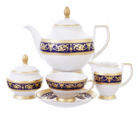 """Falken Porsellan """"Империал Кобальт Голд"""" сервиз чайный на 6 персон из 15ти предметов"""
