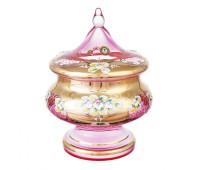 Лепка Розовая Смальта конфетница 21см с крышкой
