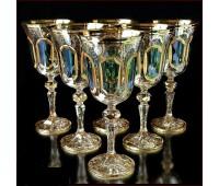 Цветной Хрусталь Аурум Изумруд набор бокалов 220мл 6штук