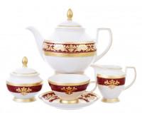 """Falken Porselan """"3D Алена Бордо Голд"""" сервиз чайный на 6 персон из 15ти предметов"""