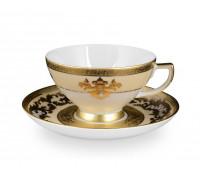 """Falken Porselan """"3D Алена Крем Голд"""" набор чайных пар 6 штук"""