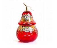Красная Лепка ваза для конфет груша 20см