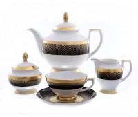 """Falken Porselan """"Рио Блэк Голд"""" сервиз чайный на 6 персон 17 предметов"""