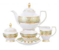 "Falken Porselan ""Наталия Грин Голд"" сервиз чайный на 6 персон 17 предметов"