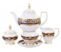"""Falken Porselan """"Наталия Кобальт Голд"""" сервиз чайный на 6 персон 17 предметов"""