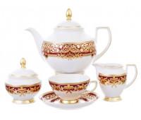 "Falken Porselan ""Наталия Бордо Голд"" сервиз чайный на 6 персон 17 предметов"