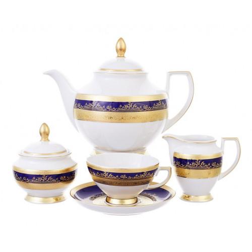 """Falken Porselan """"Констанция Кобальт Голд 9320"""" сервиз чайный на 6 персон 17 предметов"""