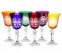 Хрусталь Цветной  набор бокалов 220мл 6штук