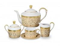 """Falken Porselan """"Риалто Крем Голд"""" чайный сервиз на 6 персон 15 предметов"""