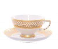 """Falken Porselan """"Валенсия Крем Голд"""" набор чайных пар 220мл 6 штук"""