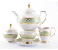 "Falken Porselan ""Валенсия Селадон Голд"" чайный сервиз на 6 персон 15 предметов"