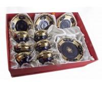 """Веймар """"Кленовый Лист Синий 819 декор"""" набор 6 чашек/6 блюдец 0,21л в подарочной упаковке"""