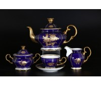 АГ 838 Золотая Роза кобальт чайный сервиз на 6 персон из 15-ти предметов