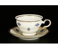 АГ 850 Синий Цветок Слоновая Кость набор чайных пар 160мл из 6ти штук(фарфор цвета слоновой кости)
