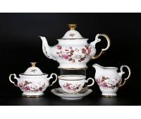 АГ 854 Цветы чайный сервиз на 6 персон из 15-ти предметов