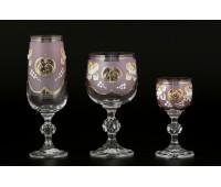 D-V Лепка Розовая набор бокалов из 18ти штук