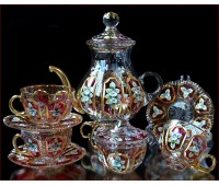 Хрусталь с Золотом Розовый чайный сервиз на 6 персон 16 предметов