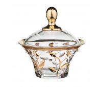 Лаурус ваза для конфет с крышкой диаметр 18см, высота 17см. Хрусталь с Золотом