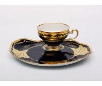 "Веймар ""Кленовый Лист Синий 819 декор"" набор ""Эгоист"" чашка и тарелка для десерта 0, 21мл"