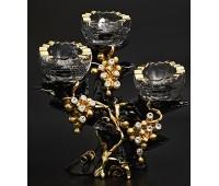 Cevik Group Гроздья винограда черный подсвечник трех рожковый