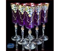 Лепка Смальта Фиолетовая набор фужеров 180мл 6 штук