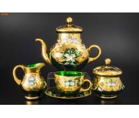 Зеленая Лепка сервиз чайный на 6 персон из 15ти предметов