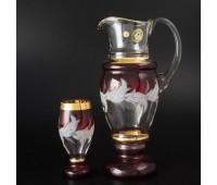 Волна Красная Набор кувшин и 6 стаканов Арабский