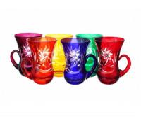Хрусталь Цветной Комета набор армуд для чая 150мл 6штук