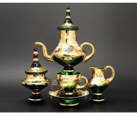 Зеленая Лепка сервиз чайный Аладин на 6 персон из 15ти предметов