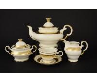 АГ 857 Лента Золотая чайный сервиз на 6 персон из 15ти предметов
