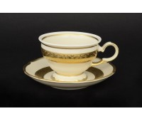 АГ 857 Лента Золотая набор чайных пар из 6ти штук(фарфор цвета слоновой кости)