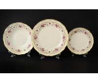 АГ 843 Розовый Цветок Слоновая Кость набор тарелок из 18ти штук